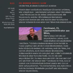 2017-02-16 Ferdinand zu Gast bei Barbara Karlich